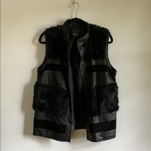 Black fur and leather Cynthia Rowley vest